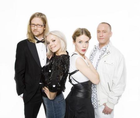 P3 guldgalan Anders Johansson, Petra Marklund, Annika Norlin, Mange Schmidt. Foto: Mattias Ahlm/SR