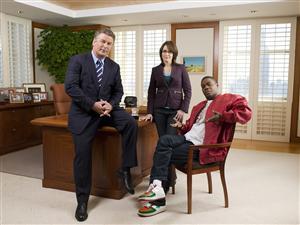 30 rock. Alec Baldwin som Jack Donaghy, Tina Fey som Liz Lemon, Tracy Morgan som Tracy Jordan. Foto: Mitchell Haaseth NBC/TV4.