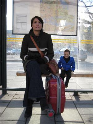 Carina Berg på väg hem till Lasse Berghagen foto:TV4